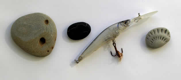 Pebbles and fishing lure found on Seatown beach