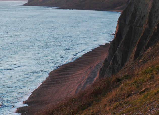 Eype beach from West Cliff showing beach scouring