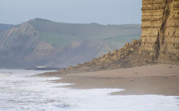 Massive rock fall at Burton Bradstock.